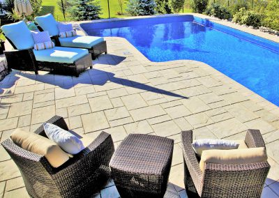 Flagstone pool surround paving  installation